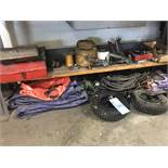 Lot-Tool Boxes, Rope, Electrical Cords, Tarps, Wheels, Fan, Light,