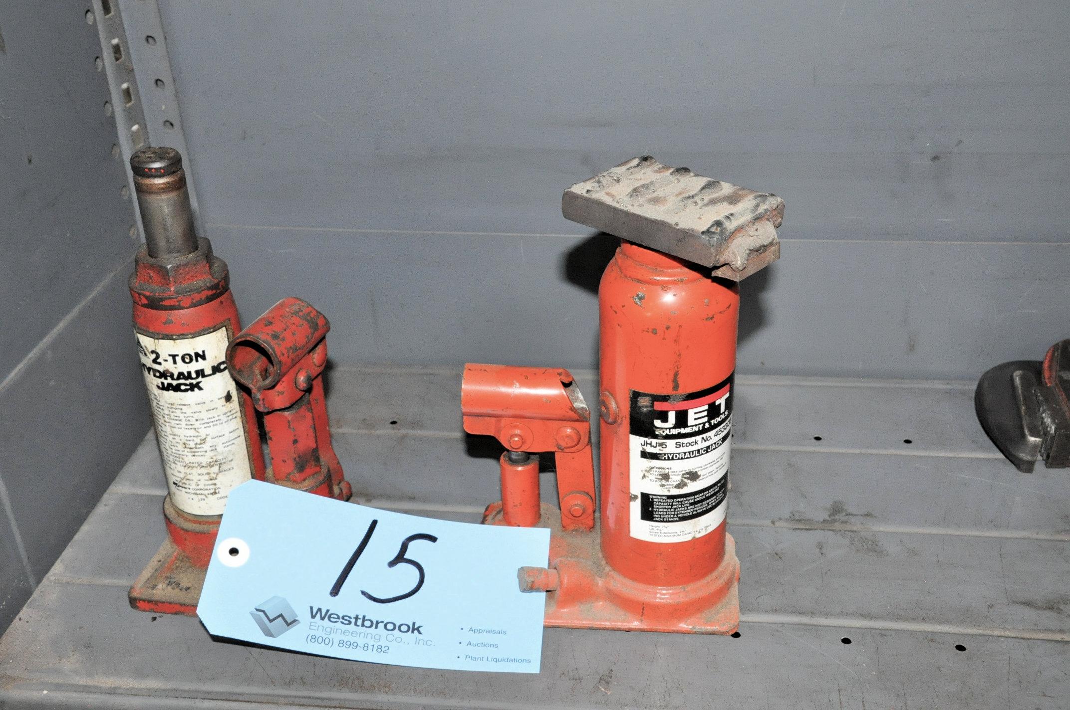 Lot-(1) JET 7 1/2-Ton and (1) No Name 2-Ton Hydraulic Bottle Jacks