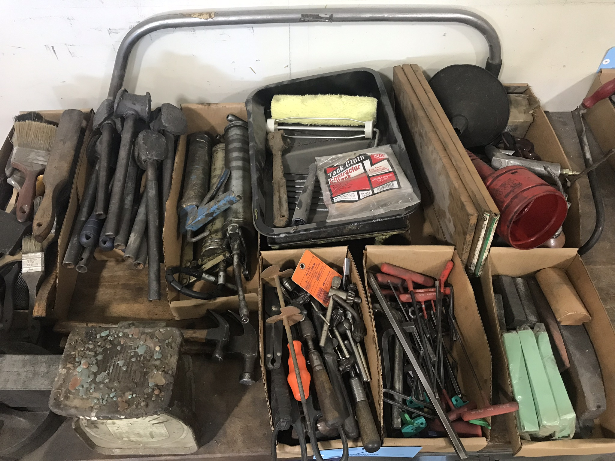 Lot-Assorted Hand Tools in (7) Boxes with Paint Trays, Saw and