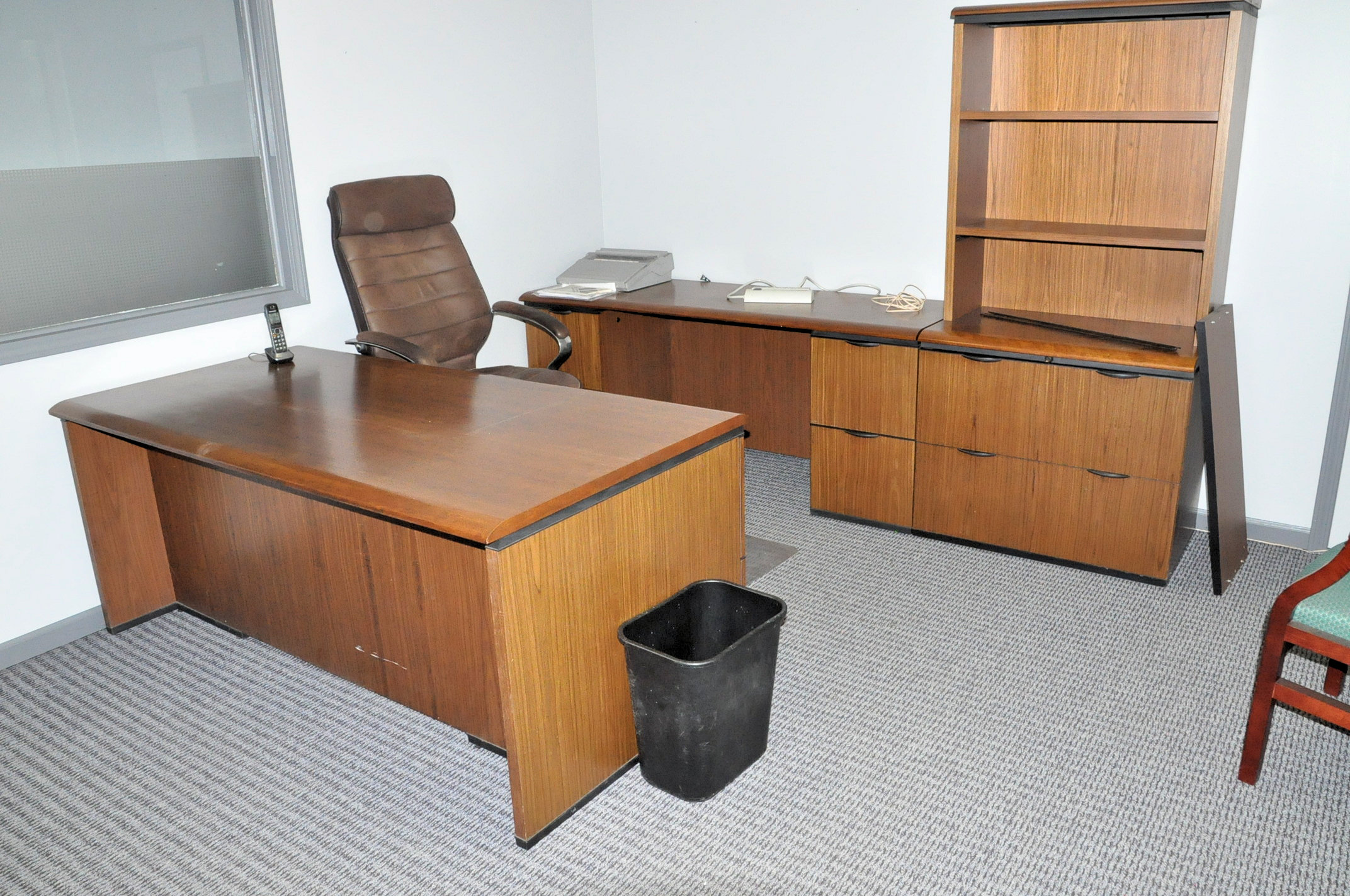 Desk, Credenza, (3) Chairs and Vanity