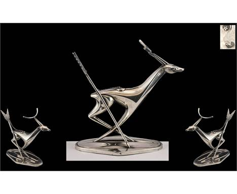 Russian - Stunning Art Deco Period Gentleman's Wonderful Silver Figural Desk Top Cigar Lighter In the Form of a Stylised Stag