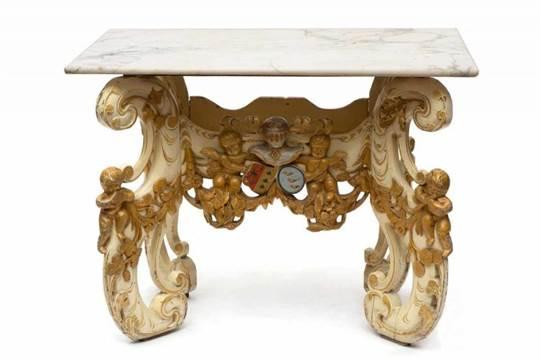 Grenenhouten Side Table.Creme En Polychroom Beschilderd Grenenhouten Kwabtafel 19e