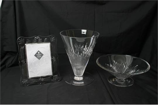A Boxed Jasper Conran Waterford Crystal Large Vase And Bowl Plus A