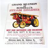 An original late 20th century Grand Reunion of Burrells Steam Engines advertising poster taking