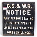 A Great Southern and Western Railway of Ireland cast iron gate notice sign, white on black