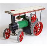 A Mamod TE1A traction engine of usual specification, with original burner and steering rod (