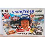 "A double royal size Goodyear ""The Choice of Champions"" 1976 poster depicting Niki Lauda surrounded"