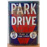 An original early 20th century Park Drive enamel plain and cork tipped rectangular advertising sign,