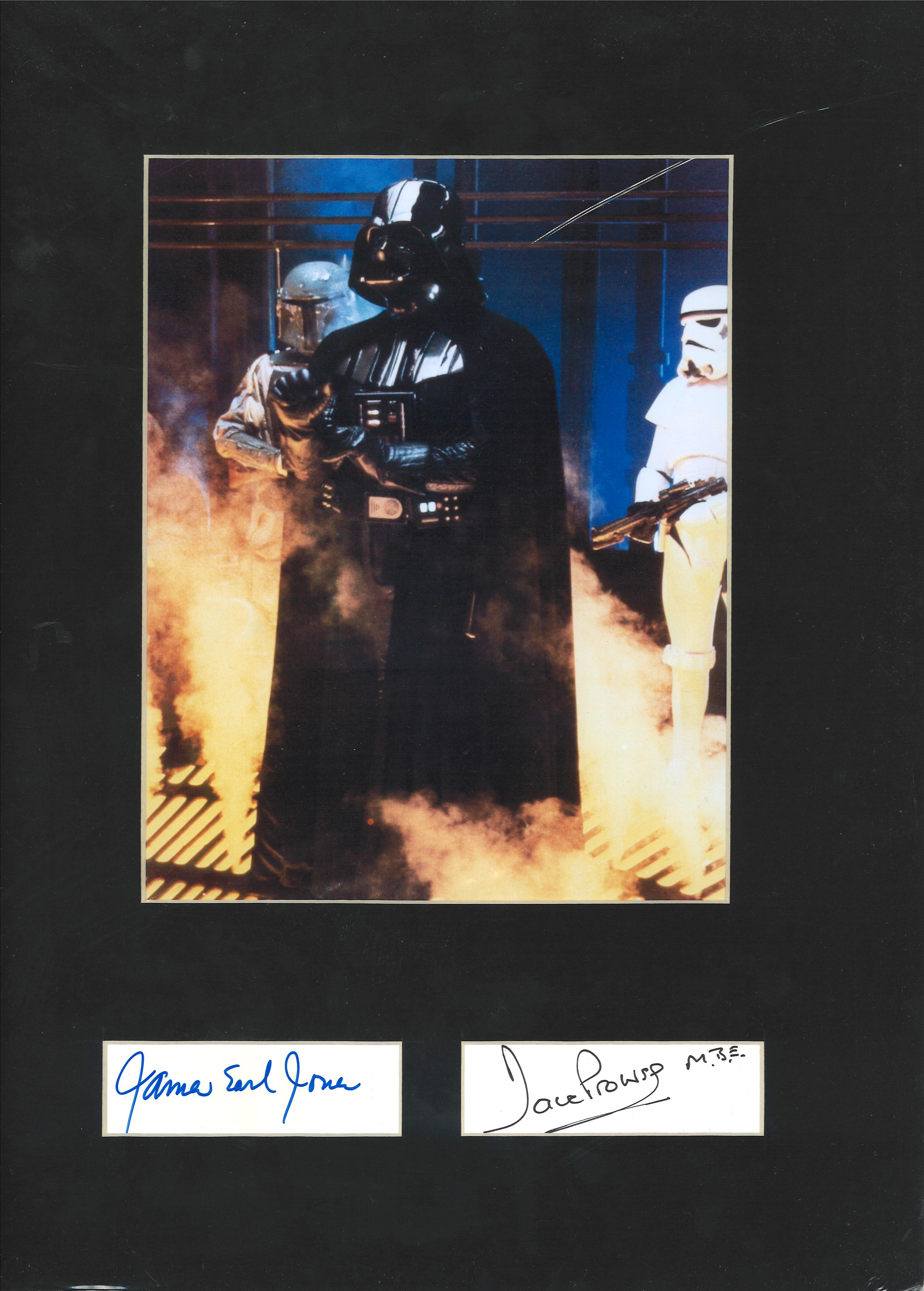 Star Wars 16x12 overall James Earl Jones and Dave Prowse signature piece  including 9x7 Darth Vade
