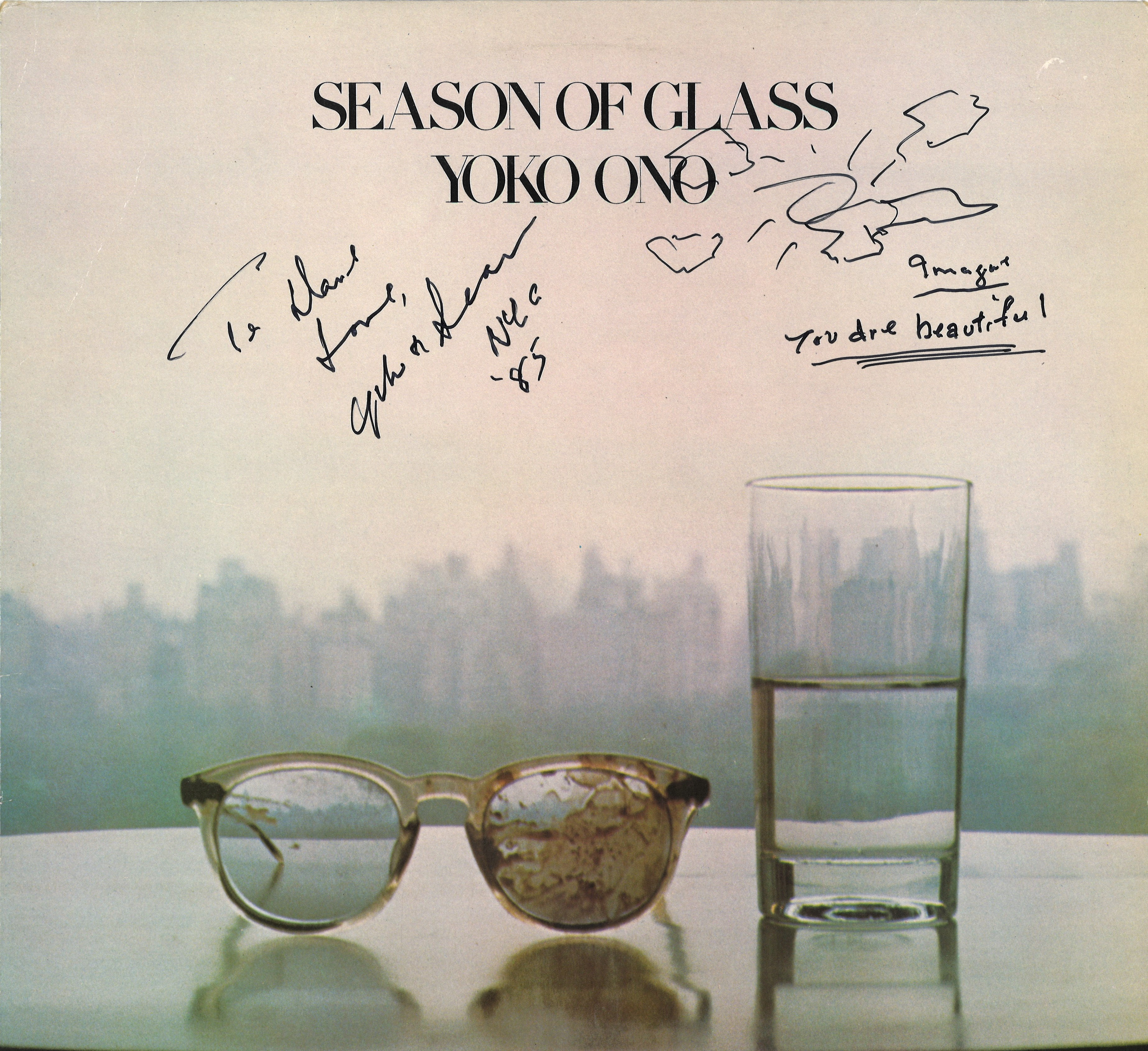 Music Season Of Glass Yoko Ono Album Cover Signed By Yoko Ono On The Front With Message On Revers
