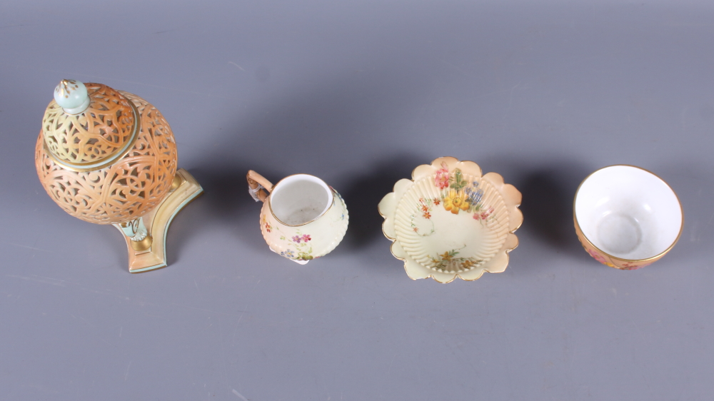 "Lot 1 - A Grainger and Co reticulated pot pourri vase and cover, on triform base, 6"" high (damage to"