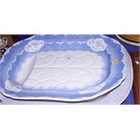 A late Victorian blue and white pottery meat plate, bearing impressed marks to base, together with a