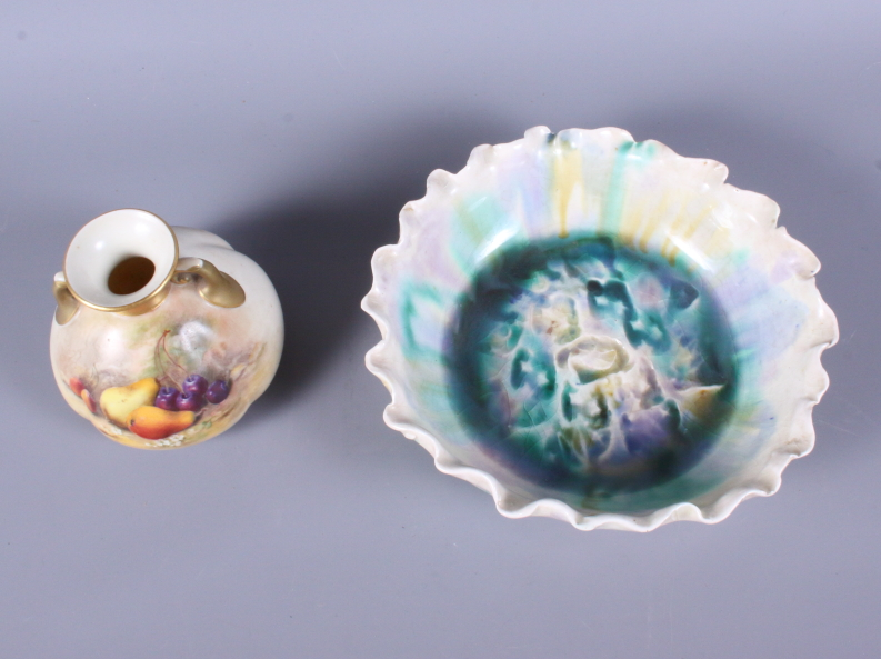 """Lot 7 - A Royal Worcester blush ivory vase, shape number 151, 3 1/2"""" high, painted with various fruit signed"""