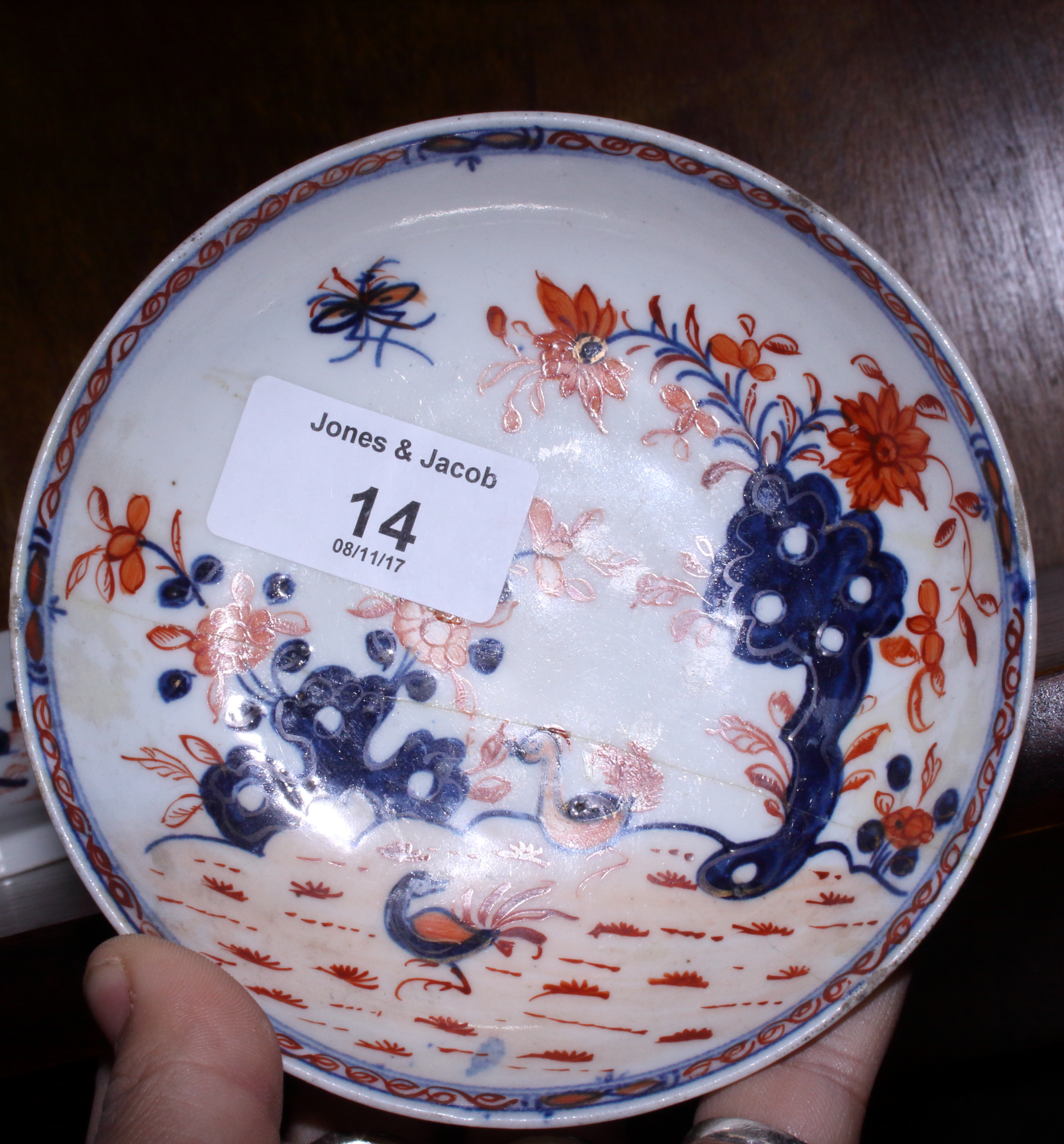 "Lot 14 - An 18th century Lowestoft ""Redgrave"" pattern dish, 4 3/4"" dia, a Lowestoft ""Dolls House"" pattern tea"