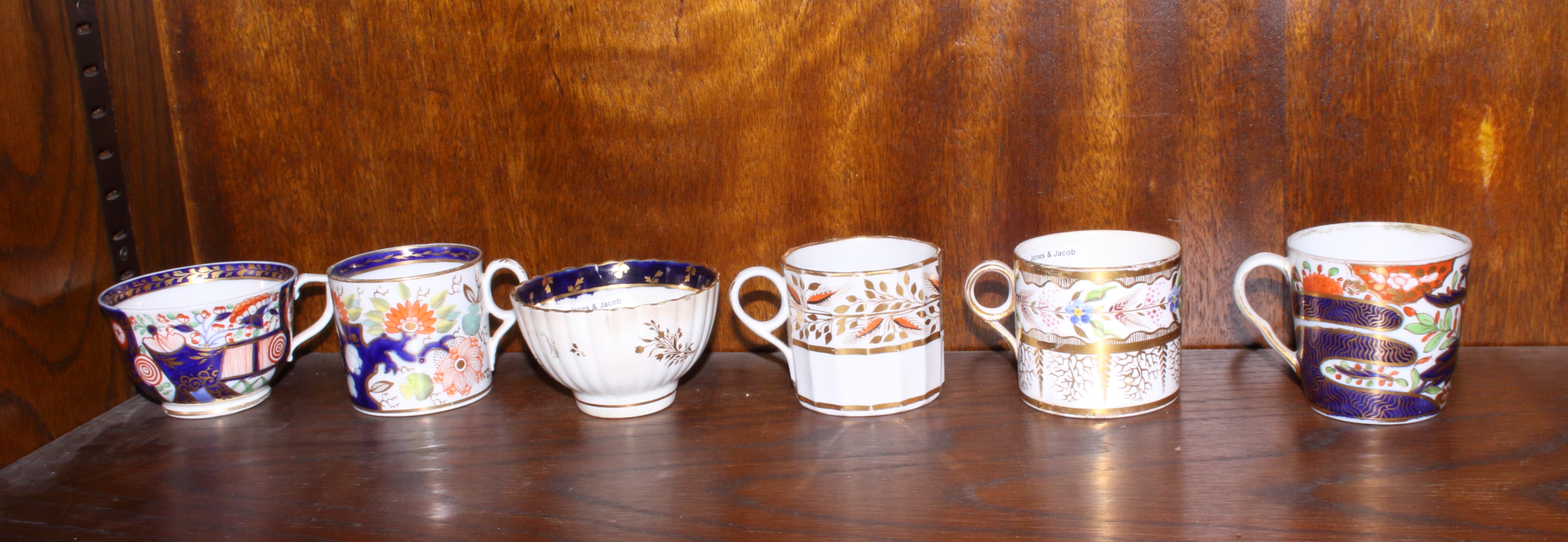 """Lot 21 - Five early 19th century English porcelain coffee cans, including Minton, Chamberlains Worcester """""""