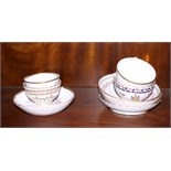 "A Worcester ""Queens"" pattern cup, a Spode 557 cup, two similar saucers and various other tea bowls"