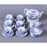 A doll's 1920s Japanese blue and white part tea service for six