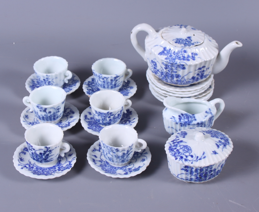 Lot 28 - A doll's 1920s Japanese blue and white part tea service for six