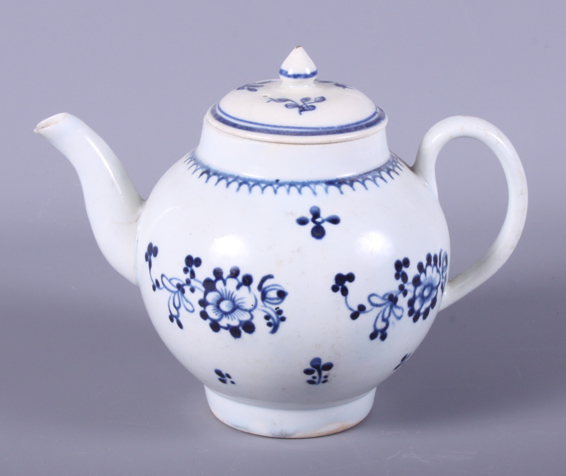 Lot 16 - A 19th century Liverpool porcelain globular-shaped teapot, decorated with sprigs of flowers, 7 1/