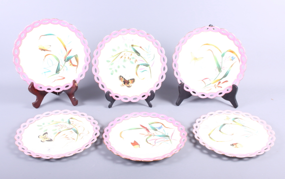"""Lot 51 - A set of six butterfly decorated ribbon edge plates, 7 1/2"""" dia, and a number of other decorative"""