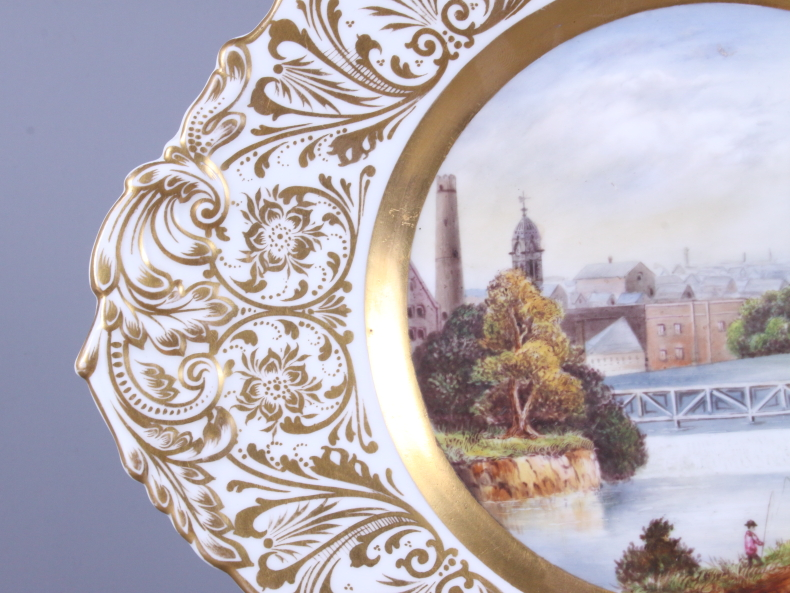 Lot 9 - A 19th century Stevenson & Hancock Derby porcelain plate, the central panel painted by H S