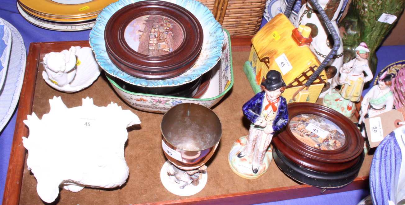 Lot 45 - A Staffordshire Gin and Water figure, a pair of Staffordshire figures with dogs, four assorted