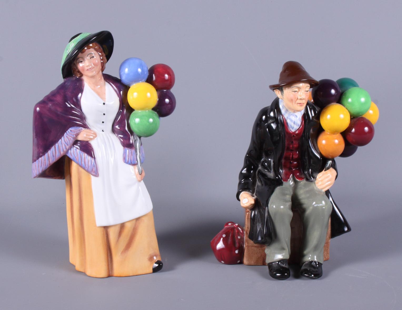 Lot 30 - A Royal Doulton china figure, Balloon Man HN1954, together with a Royal Doulton figure, Balloon Lady