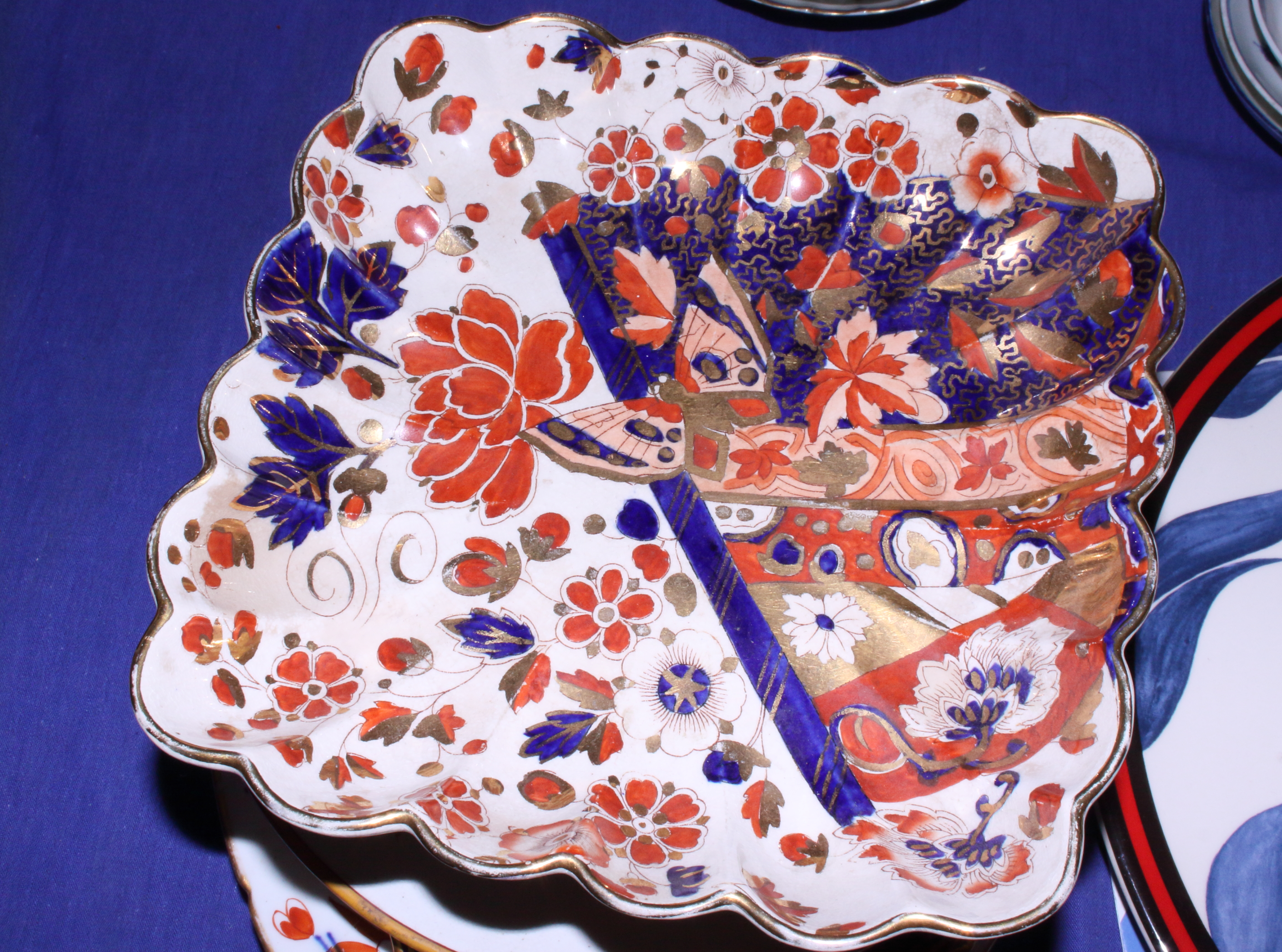 """Lot 10 - A 19th century Derby """"Tree"""" pattern oval meat plate and side plate, a Wedgwood plate decorated"""