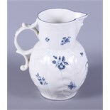 A 19th century blue and white Worcester cabbage jug, decorated with sprigs of flowers and