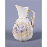 A mid Victorian Royal Worcester blush ivory porcelain jug, shape number 1436, with gilt