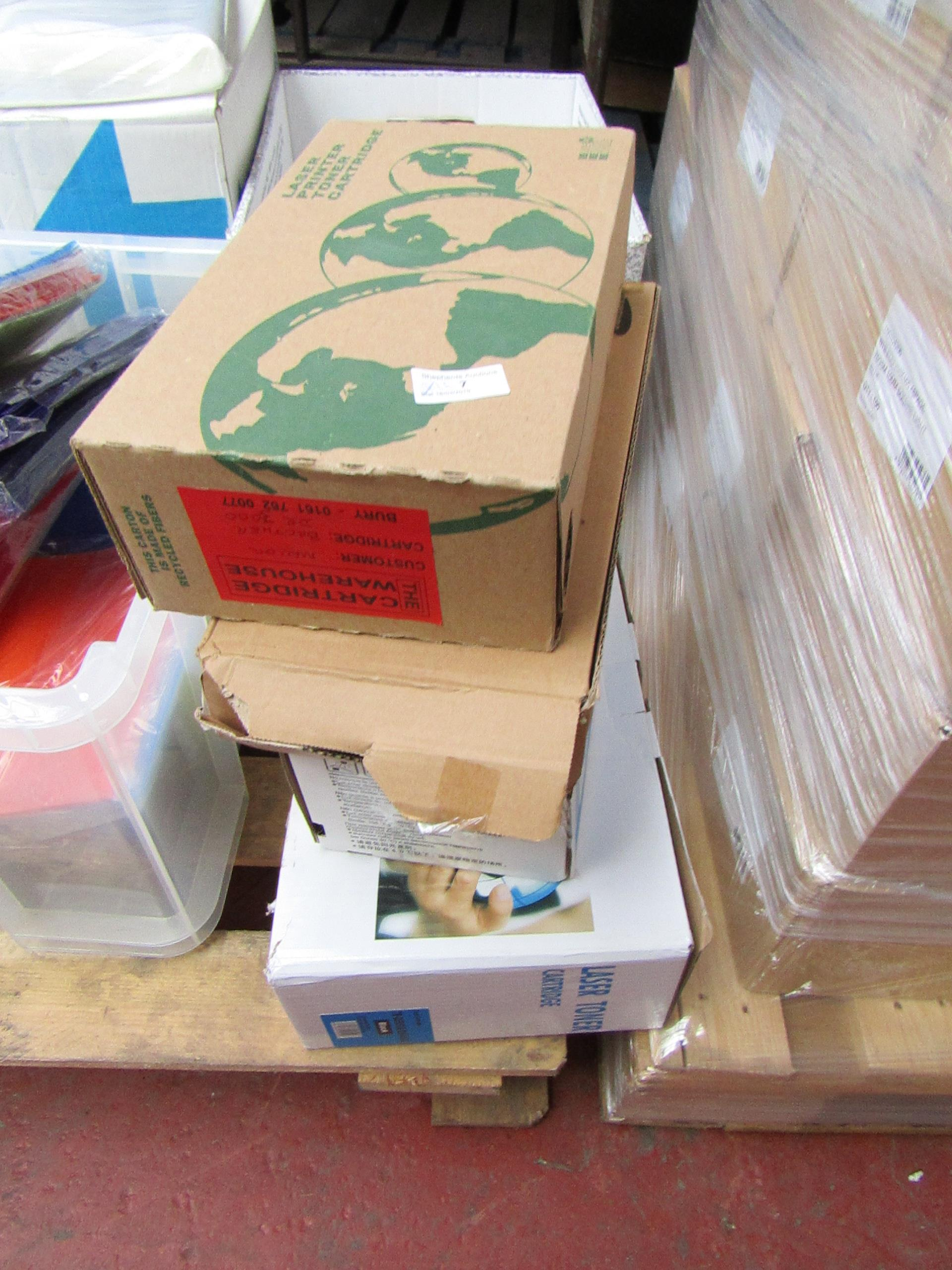 Lot 7 - 4x Laser toner cartridges, appear to be for Samsung, Brother, unchecked and boxed