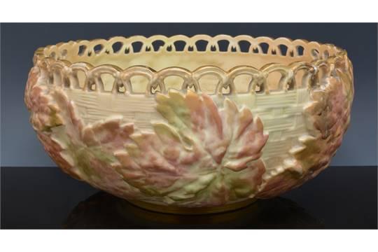 Royal Worcester fruit bowl, moulded with leaves against a basket ...