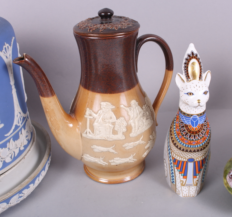 "Lot 42 - A Royal Doulton stoneware relief decorated coffee pot and smaller jug, a Royal Crown Derby ""Royal"