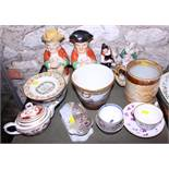 Two character jugs, a quantity of Chinese tea bowls, a relief decorated tankard, two Staffordshire