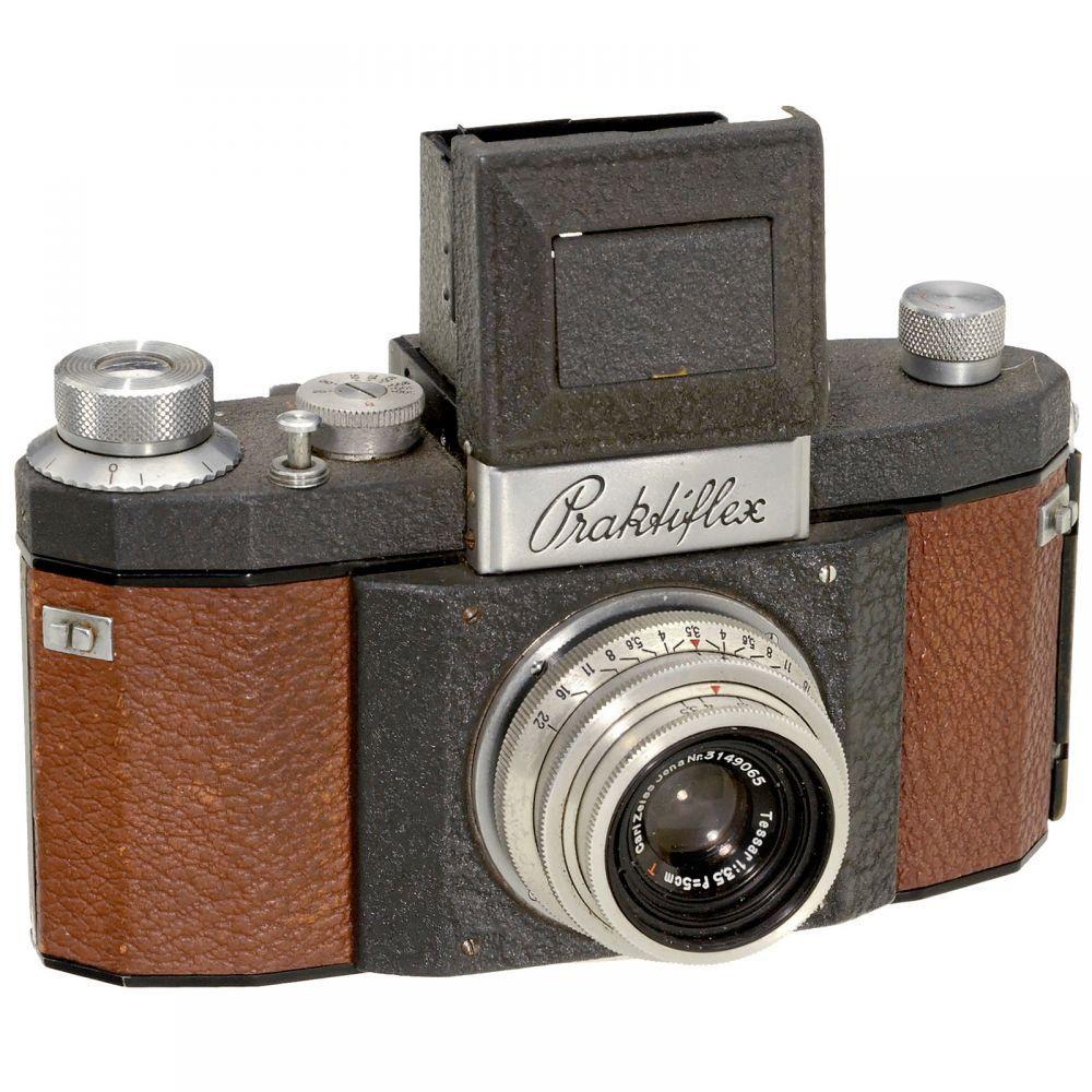 Praktiflex (1st Generation) in Grey/Red, 1940  K.W. (Kamera-Werkstätten Guthe & Thorsch), Dresden.