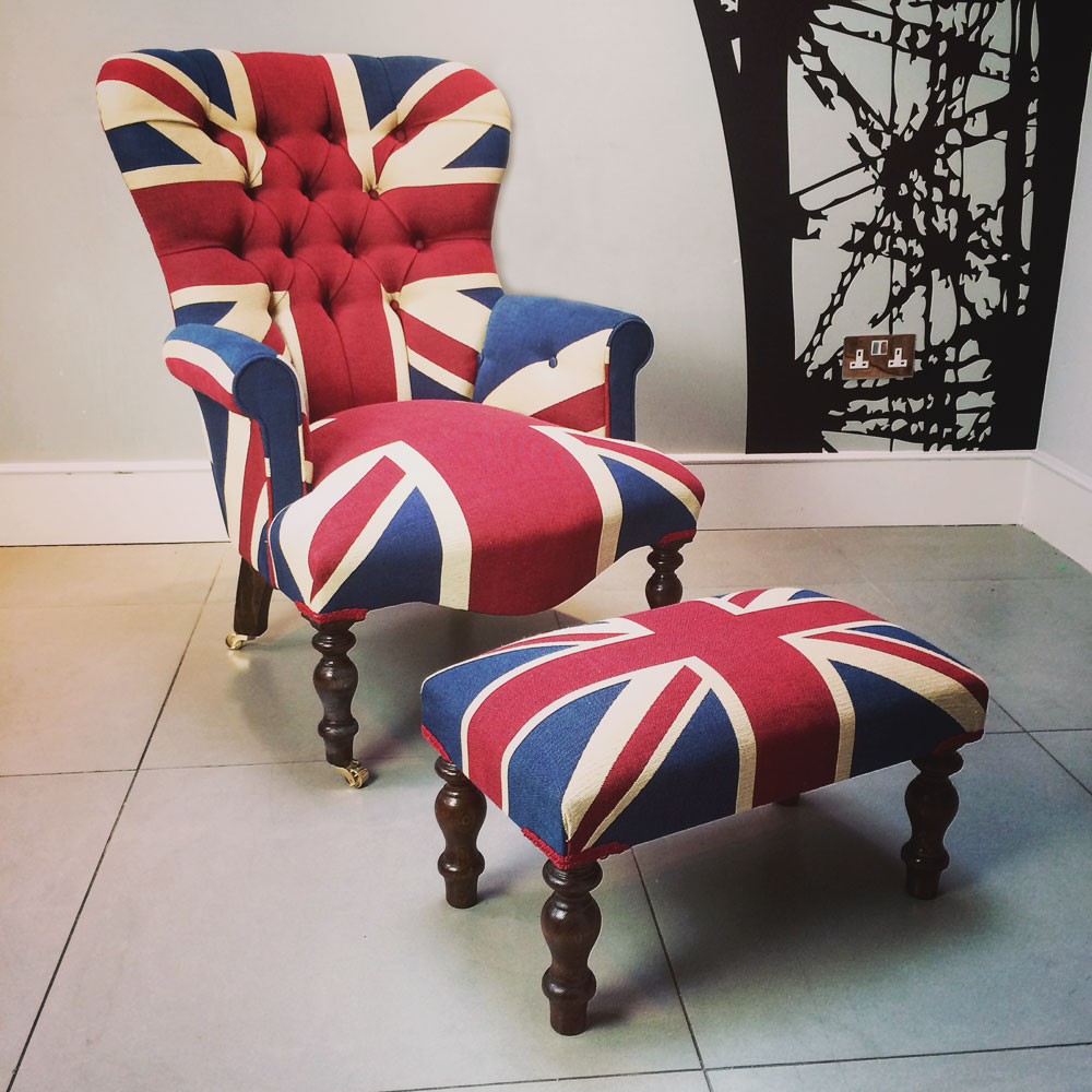 Superieur Lot 3   Union Jack Chair With Matching Foot Stool
