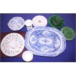 A blue and white meat dish, a Copeland pedestal tureen, various other blue and white china, three