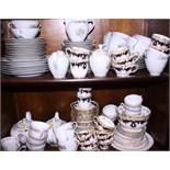 A German part tea service, a Royal Vale part tea service and a blue and gilt part tea service