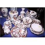 "A Masons ""Mandalay"" pattern cheese dish, a teapot, a table lamp and a quantity of other Masons china"
