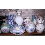"""A Wedgwood """"Wild Strawberry"""" pattern vase, 8 1/4"""" high, an """"Old Chelsea"""" pattern blue and white"""