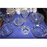 """An Orrefors glass vase, 3"""" high, three cut glass bowls, two glass vases and a glass bonbon dish"""