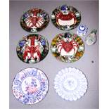 Four Palissy style pottery dishes, decorated crustaceans, a Delft charger, a similar inkwell, a