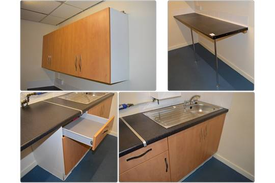 1 x selection of fitted kitchen units with sink basin and for Beech effect kitchen base units