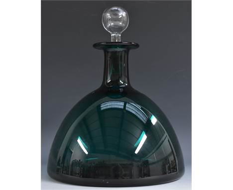 A Holmegaard domed green glass Gronland decanter, designed by Per Lutken, clear glass globular stopper, 26.5cm high, etched m