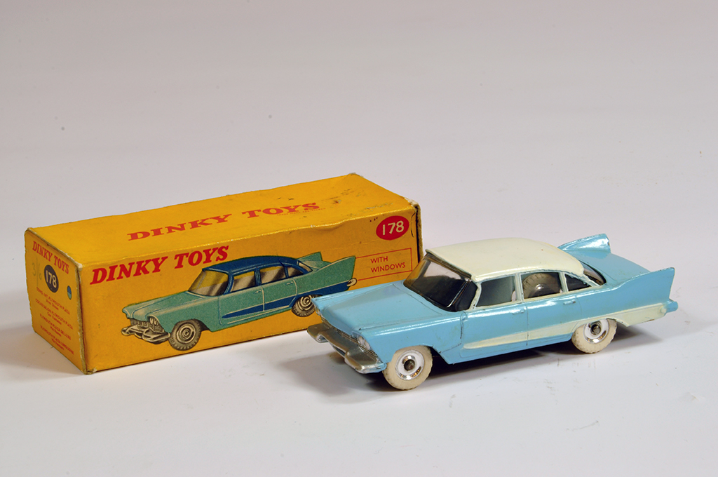 Lot 53 - Dinky No. 178 Plymouth Plaza in two-tone light blue and white. Fine example is E to NM in G to VG