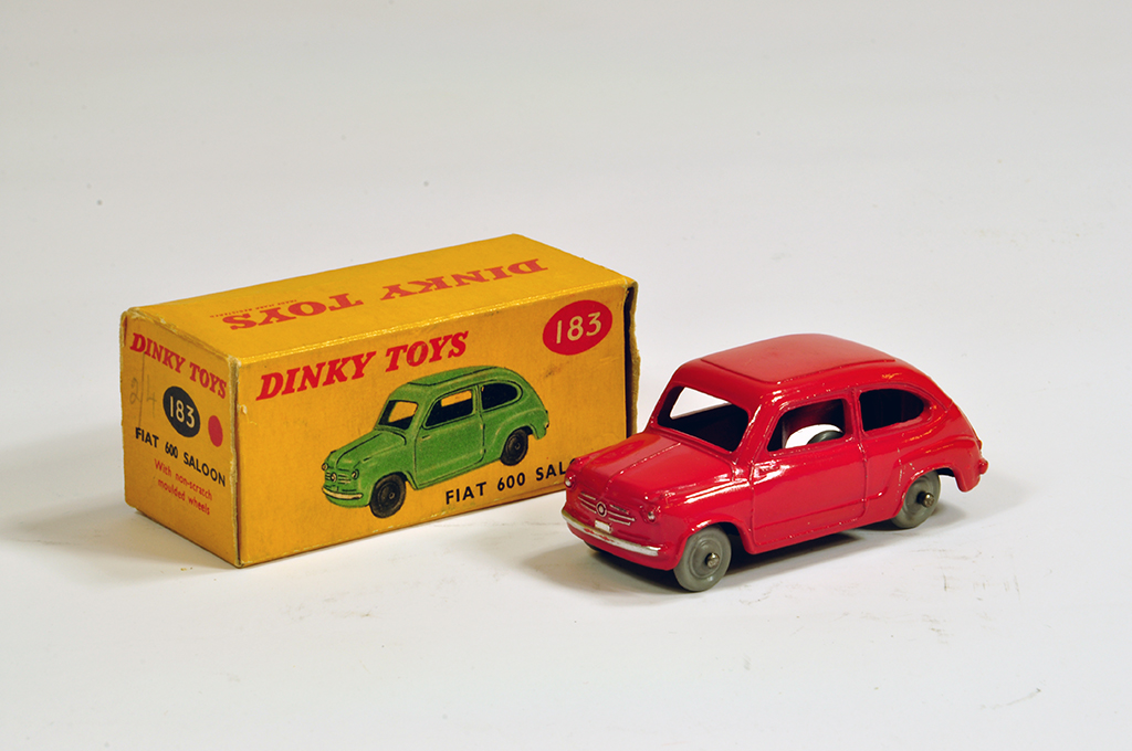 Lot 11 - Dinky No. 183 Fiat 600 saloon with red body. Fine NM example in VG Box.