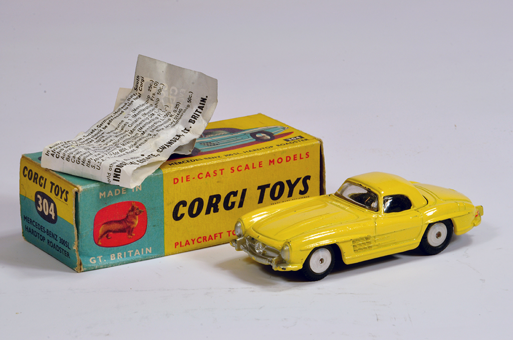 Lot 30 - Corgi No. 304 Mercedes 300SL Hard-Top in hard to find yellow shade. Generally E to NM in G to VG