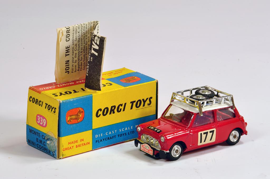 Lot 25 - Corgi No.339 BMC Mini Cooper S Rallye Monte Carlo. Fine example is NM in VG to E Box.