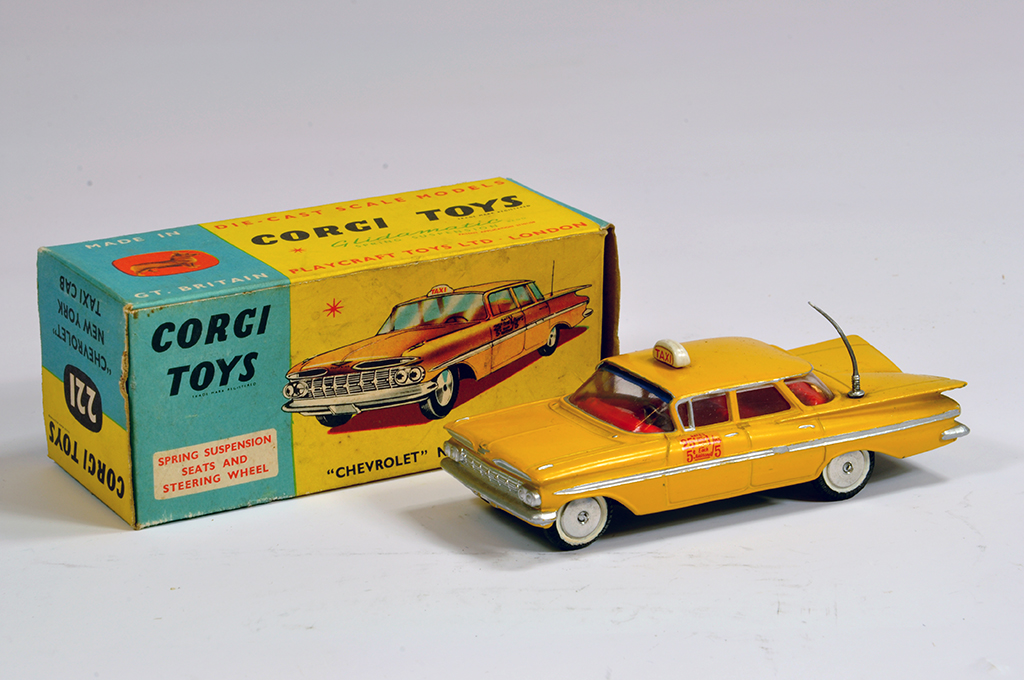 Lot 49 - Corgi No. 221 Chevrolet Impala New York Taxi Cab. Yellow with unusual (possibly superdetailed)