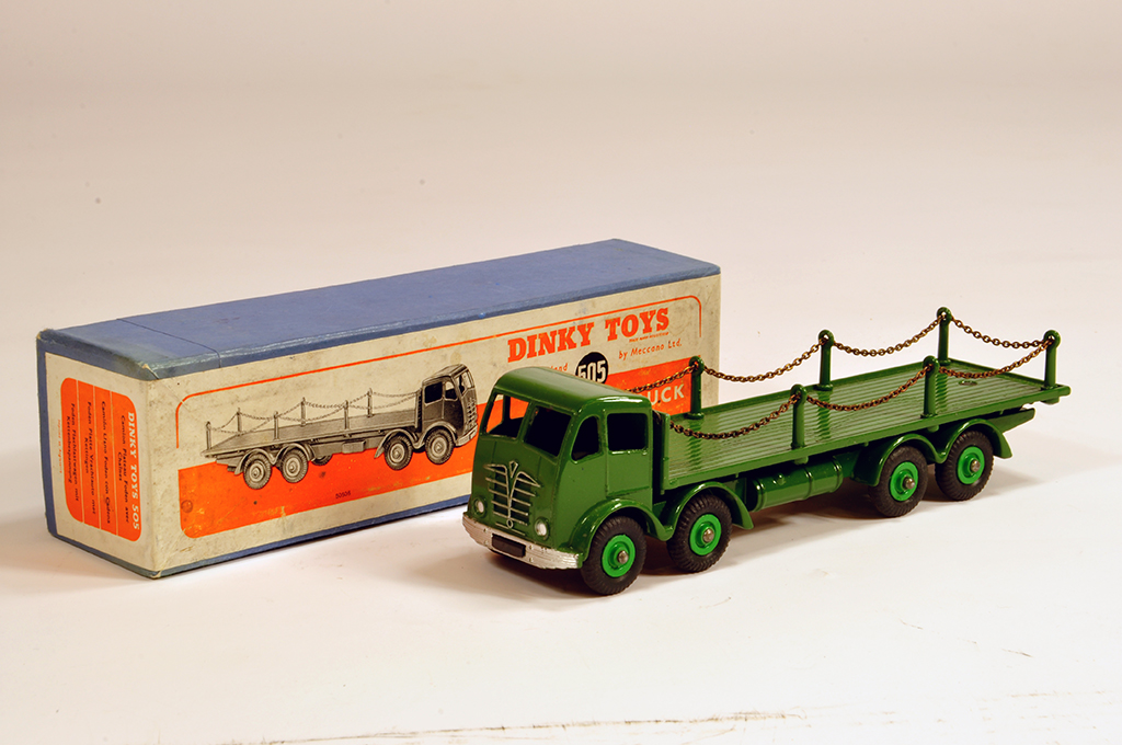 Lot 23 - Dinky No. 505 Foden (2nd type) Flat Truck with Chains. Green cab and chassis. Fine example is NM